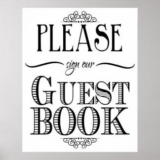 Gastbuch-Zeichenschwarzweiss-Druck Poster
