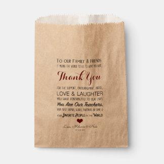 Gastgeschenk Hochzeit danken Ihnen Leckerei-Tasche Geschenktütchen