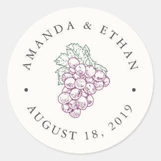 Gastgeschenk Hochzeit des Wein-Land-| Runder Aufkleber