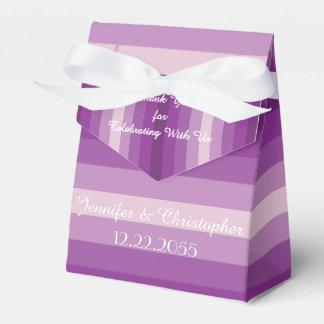 Gastgeschenk Hochzeits-Kasten, lila Streifen Geschenkschachtel