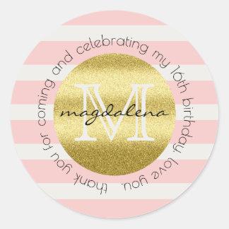 Gastgeschenk-Monogramm-GoldGlitter-Rosa-Streifen Runder Aufkleber