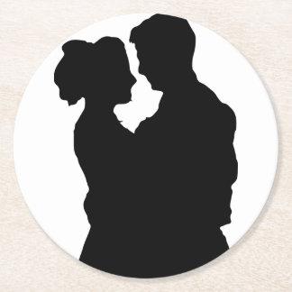 Gastgeschenke Hochzeit - Paar-Silhouette Runder Pappuntersetzer