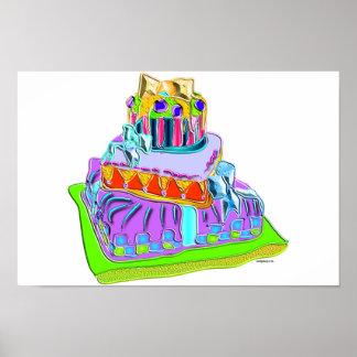 gâteau de fantaisie de cravate d'arc poster