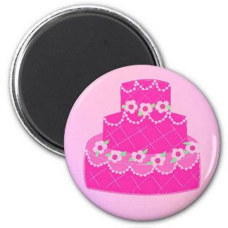 Gâteau rose élégant de concepteur magnet rond 8 cm