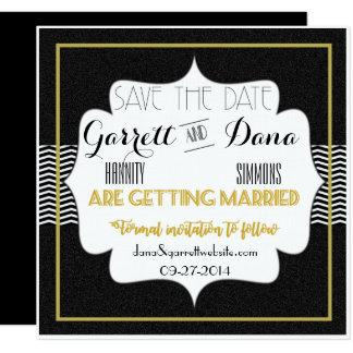 Gatsby Goldhochzeits-Reihen-Save the Date Karte