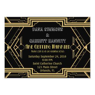 Gatsby GoldParty-Hochzeits-Einladung Karte
