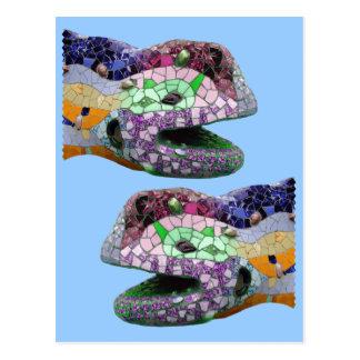 Gaudi Eidechsen-Kopf-Mosaiken Postkarte