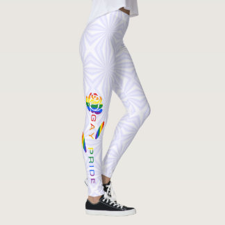 Gay Pride-Flaggen-Rosen-weiße Squiggly Quadrate Leggings
