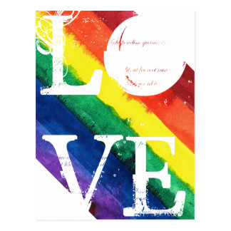 Gay Pride-Postkarte mit Regenbogen-Flagge Postkarte