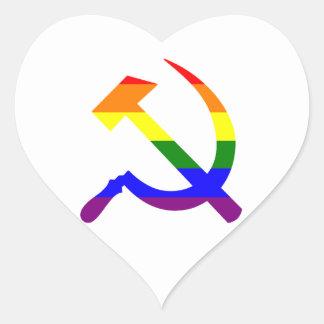 Gay Pride-Regenbogen-sowjetischer Hammer und Herz-Aufkleber
