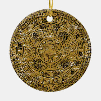 Gealterter aztekischer Sunsteinkalender Rundes Keramik Ornament