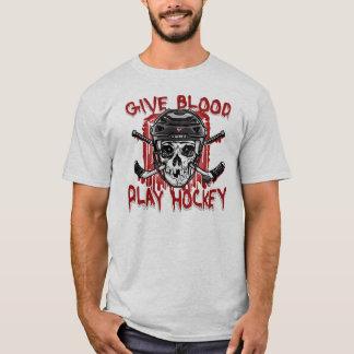 Geben Sie Blut-Spiel-Hockey-Schwarzes T-Shirt