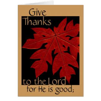 Geben Sie Dank des Lords Thanksgiving Prayer Card Grußkarte