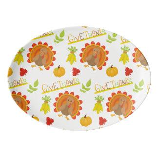 Geben Sie Dank die Türkei Porzellan Servierplatte