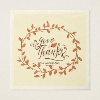 Geben Sie Dank. Erntedank-Familien-Feier Papierserviette