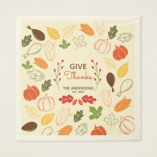 Geben Sie Dank. Erntedank-Familien-Feier Papierservietten