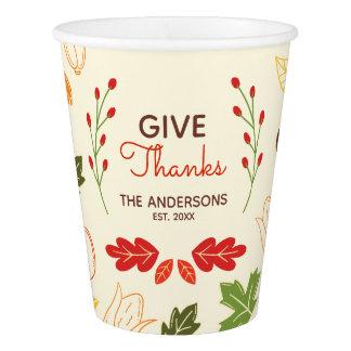Geben Sie Dank. Erntedank-Familien-Feier Pappbecher