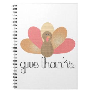 geben Sie Dank-Erntedanktruthahn Notizblock