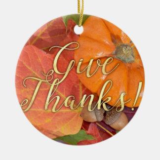 Geben Sie Dank-Skript-Typografie-Herbst-Erntedank Keramik Ornament