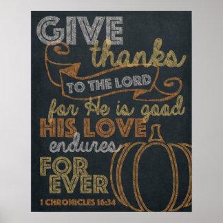 Geben Sie Dank-Tafel-Kunst 16x20 Poster