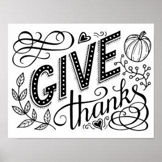 Geben Sie Dankhandbeschriftungszitat. Erntedank Poster