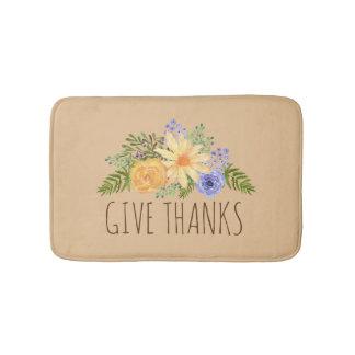 Geben Sie Dankwatercolor-Fall-Blumen-Erntedank Badematte