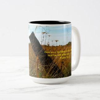 Geben Sie Ihre Belastungen zur Lord-Foto-Tasse Zweifarbige Tasse