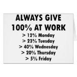 Geben Sie immer 100% bei der Arbeit Grußkarte