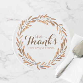 Geben Sie Kuchen-Stand des Dank-Aquarell-Kranz-| Tortenplatte