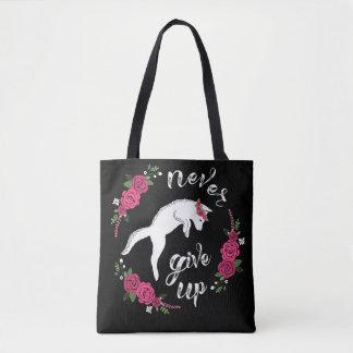 Geben Sie nie Fox und Rosen Taschen-Tasche auf Tasche