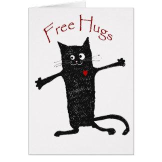 Geben Sie Umarmungen, verrückte Katze, Spaß und Karte