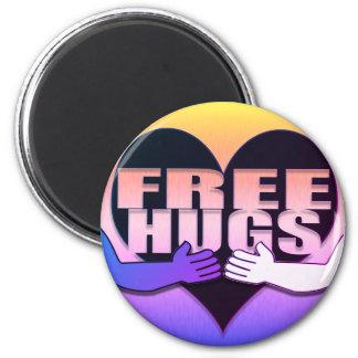 Geben Sie Umarmungs-Regenbogen-Herz frei Runder Magnet 5,7 Cm