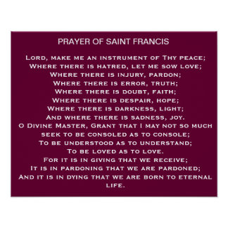 Gebet des Franziskus-Plakats Poster