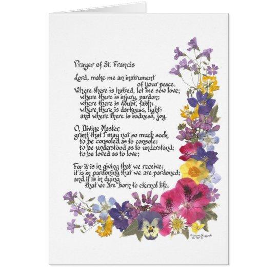 Gebet von St Francis Karte