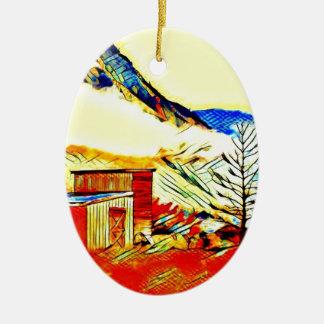 Gebirgskabine Ovales Keramik Ornament