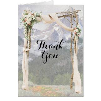 Gebirgslauben-Park außerhalb der Hochzeit danken Karte