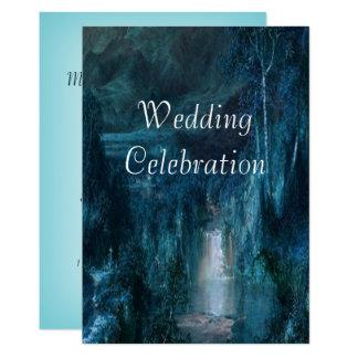 Gebirgswasserfall der Hochzeits-Einladungs-  Karte