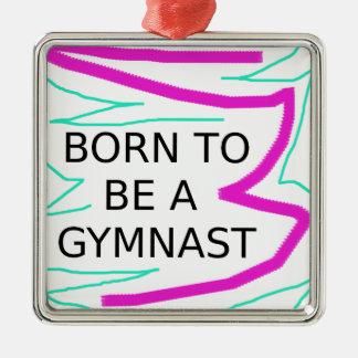 Geboren, ein Gymnast zu sein Quadratisches Silberfarbenes Ornament