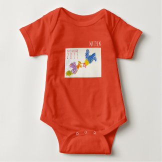 Geboren Hahn-Jahr-im personalisierten Baby Strampler