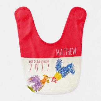 Geboren Hahn-Jahr-im personalisierten Babylätzchen