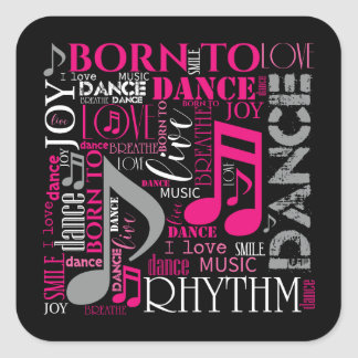 Geboren, rosa ID277 zu tanzen Quadratischer Aufkleber