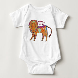 """""""Geboren, wilder"""" Volkskunst-Löwe zu sein Baby Strampler"""