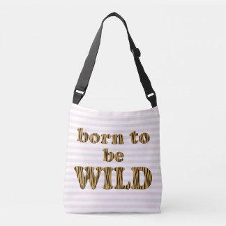 Geboren wildes | Spaß-Zitat-Rosa sein Striped Tragetaschen Mit Langen Trägern