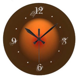 Gebrannte Orange/Brown belichtete Entwurfs-Wanduhr Große Wanduhr