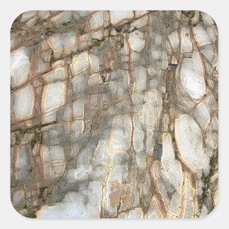 Gebrochener Strand-Stein Quadratischer Aufkleber