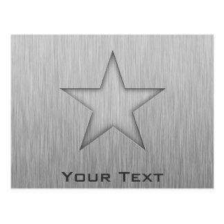 Gebürsteter Metall-Blick Stern Postkarte
