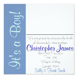 Geburt Announcment Junge Quadratische 13,3 Cm Einladungskarte