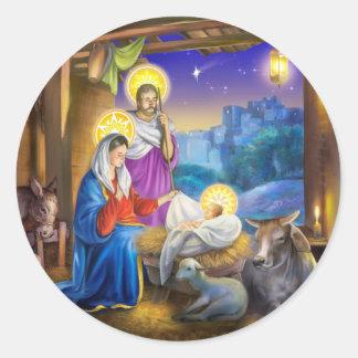 Geburt Christi von Jesus mit Josef und Mary, Kühe, Runder Aufkleber