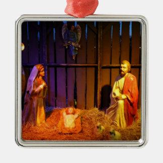 Geburt Christis-Szenen-Weihnachtsfeiertags-Anzeige Quadratisches Silberfarbenes Ornament