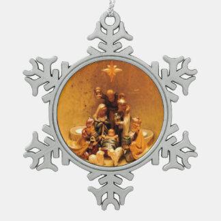 Geburt Christis-Szenen-Zinn-Weihnachtsverzierung Schneeflocken Zinn-Ornament